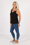 Rosie Linen Singlet in Black