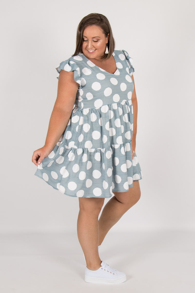 Shanley Dress in Blue Spot
