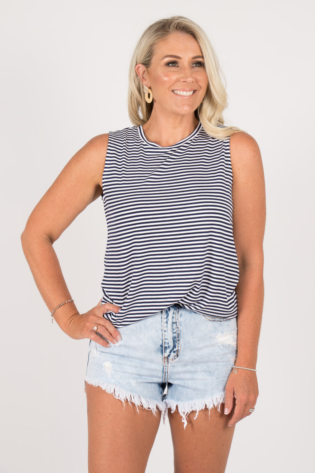 Capri Tank in Navy Blue/White Stripe