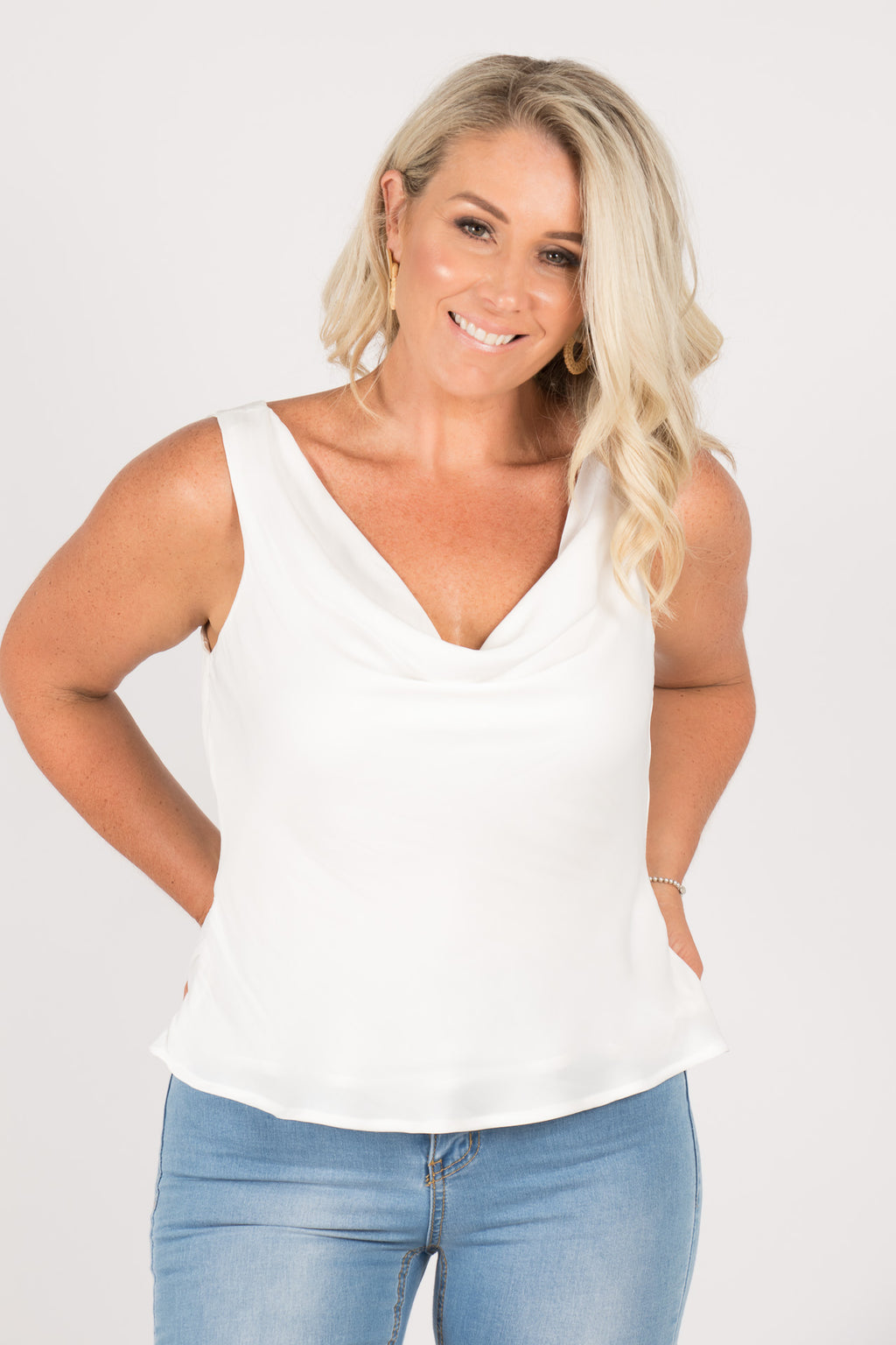 Leila Cowl Neck Top in White