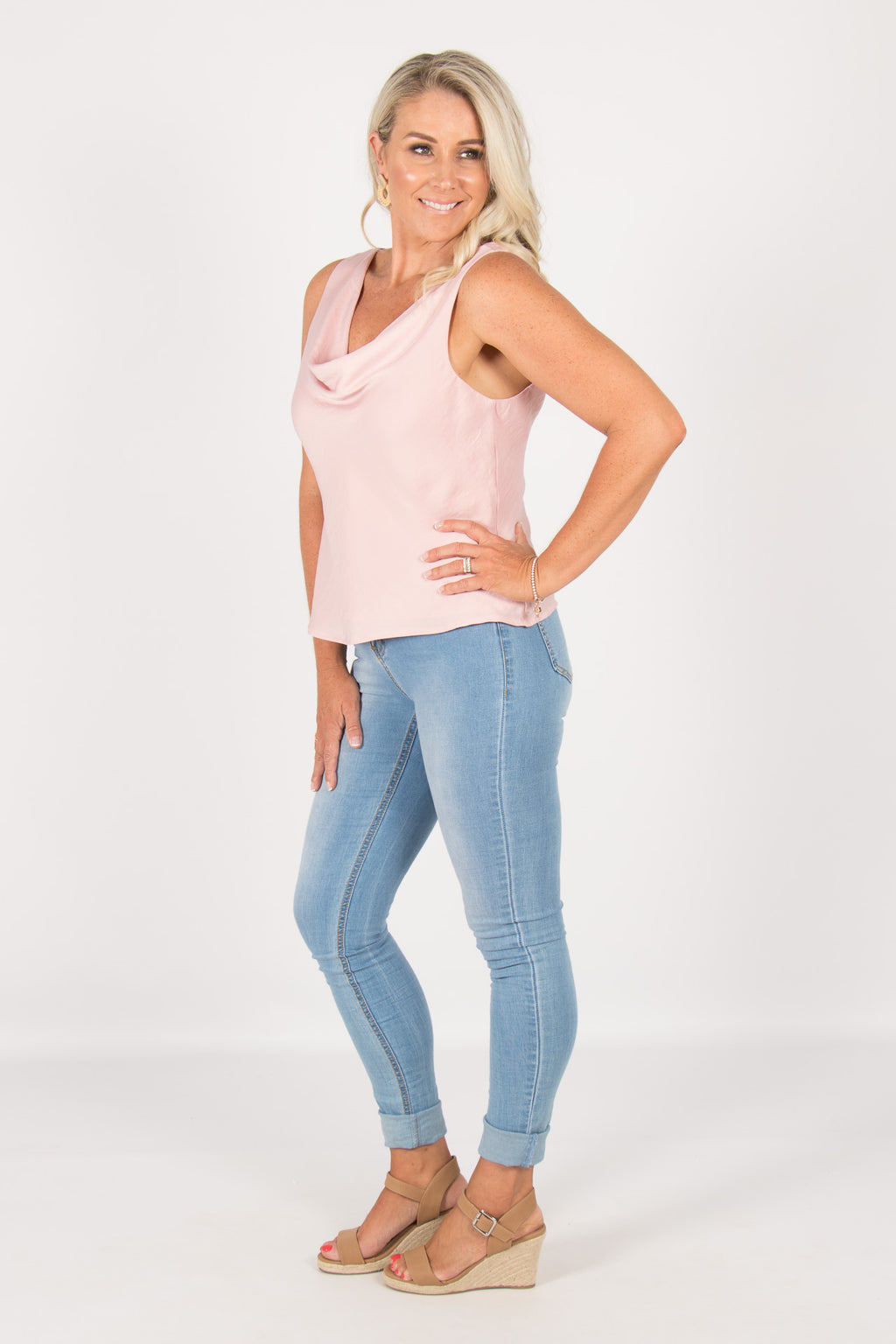 Leila Cowl Neck Top in Pink