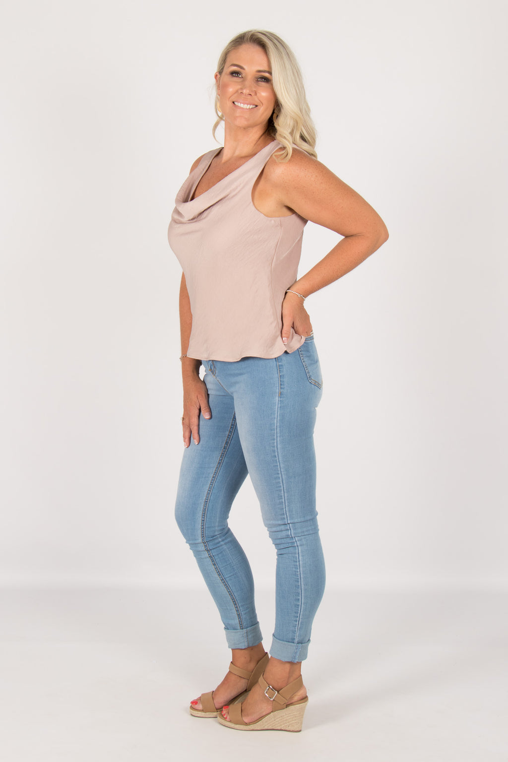 Leila Cowl Neck Top in Oyster