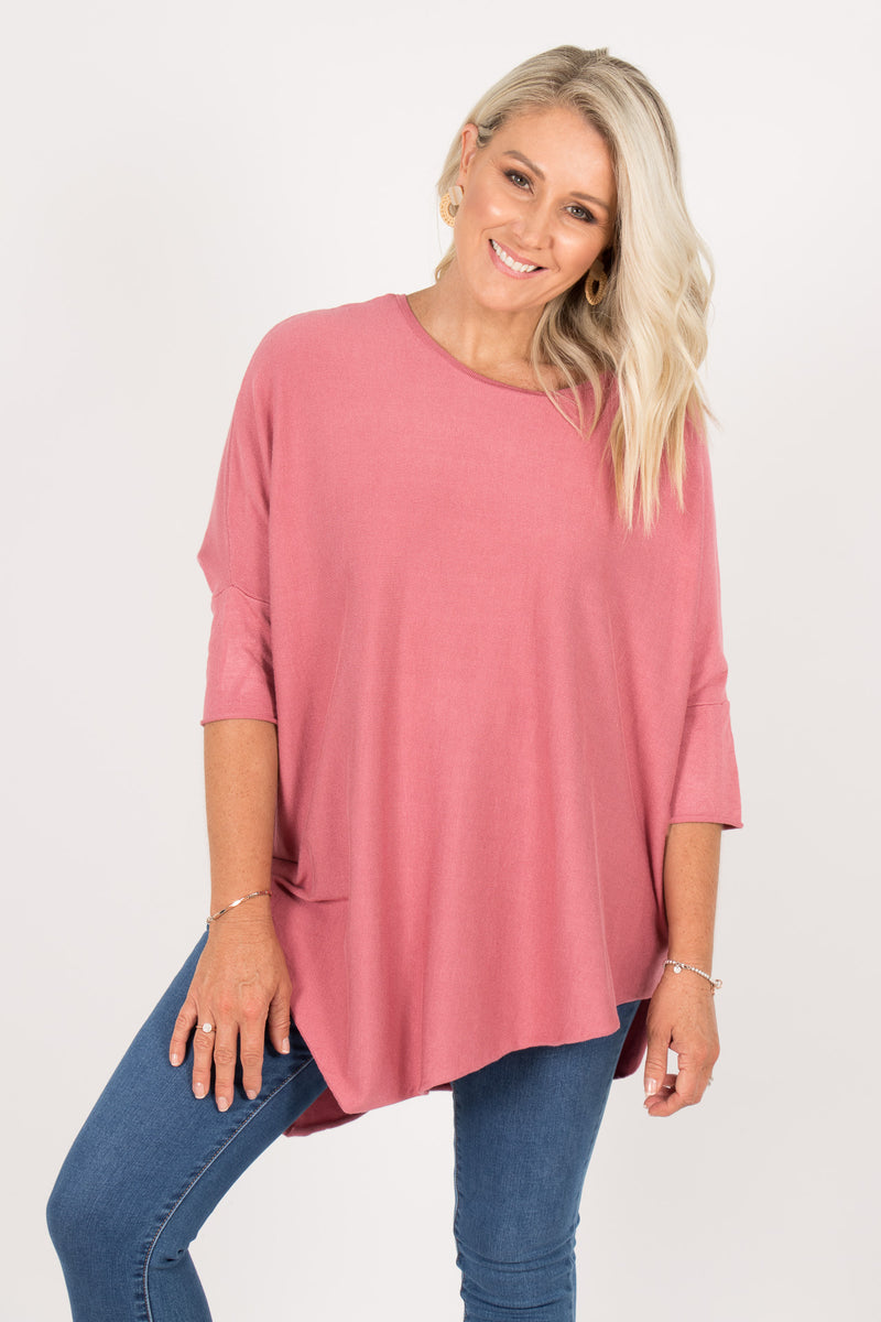 Charlie Knit Top in Rose