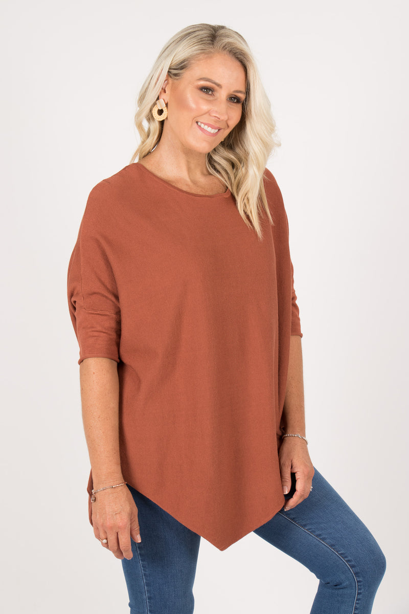 Charlie Knit Top in Rust
