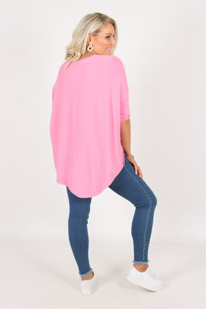 Charlie Knit Top in Hot Pink