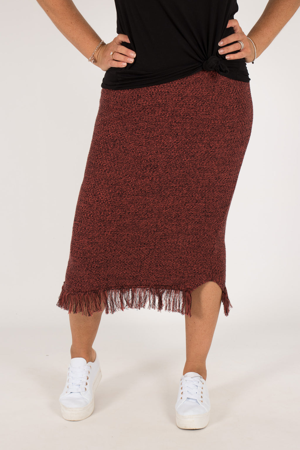 Karanda Knit Skirt in Rust/Black