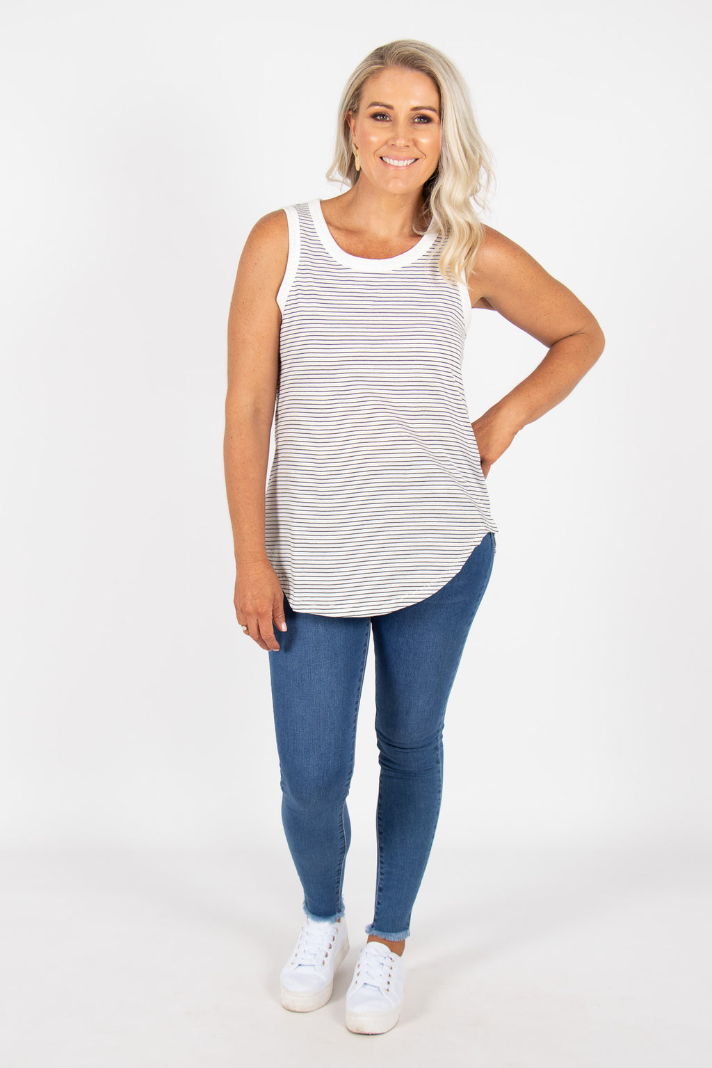 Keira Tank in White/Black Stripe