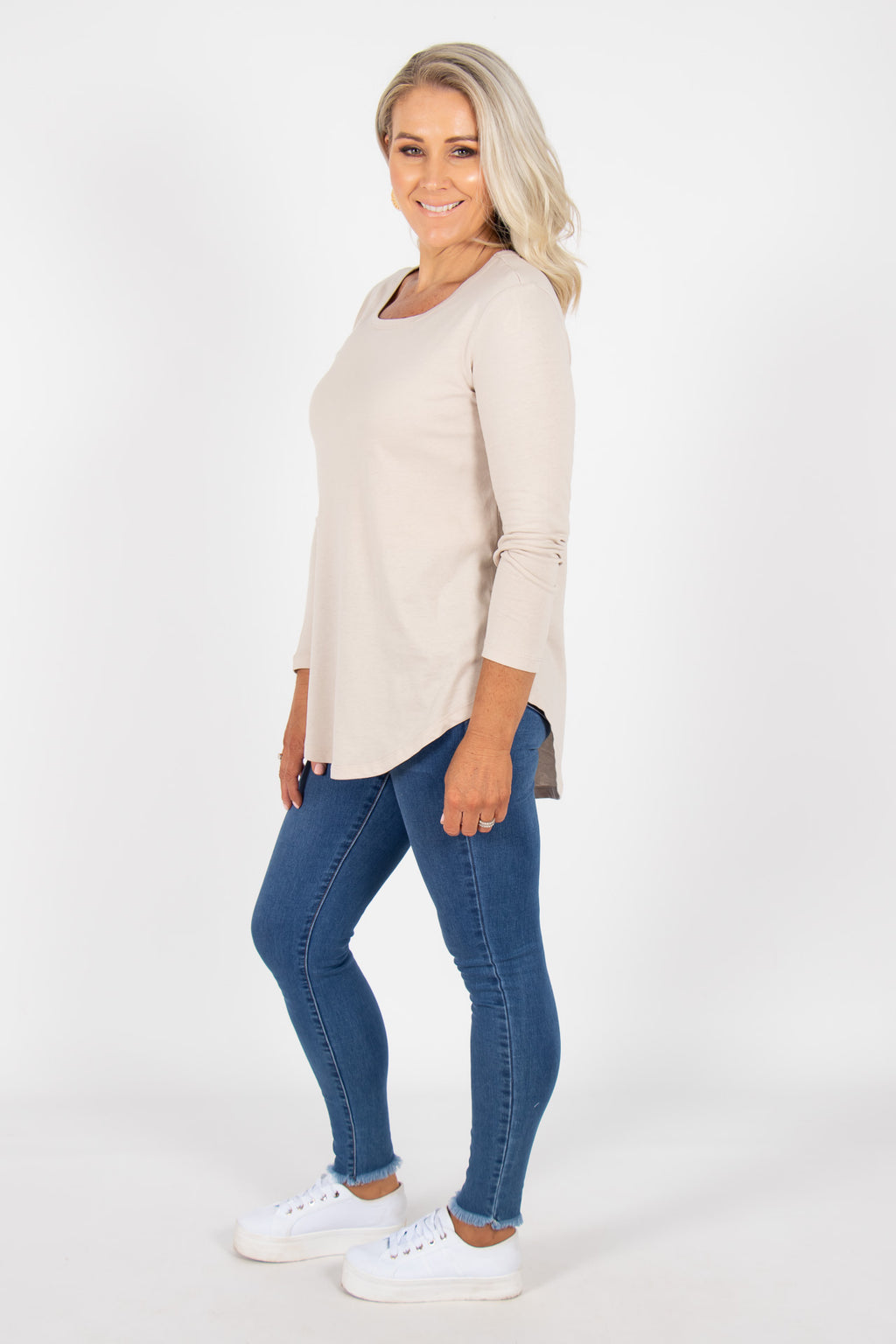 Megan Long Sleeve Top in Cashew