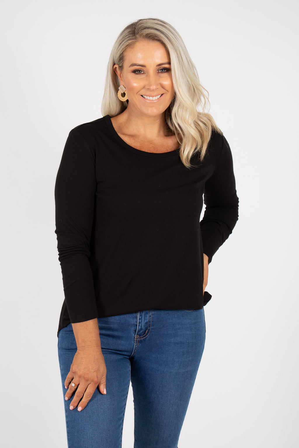 Megan Long Sleeve Top in Black
