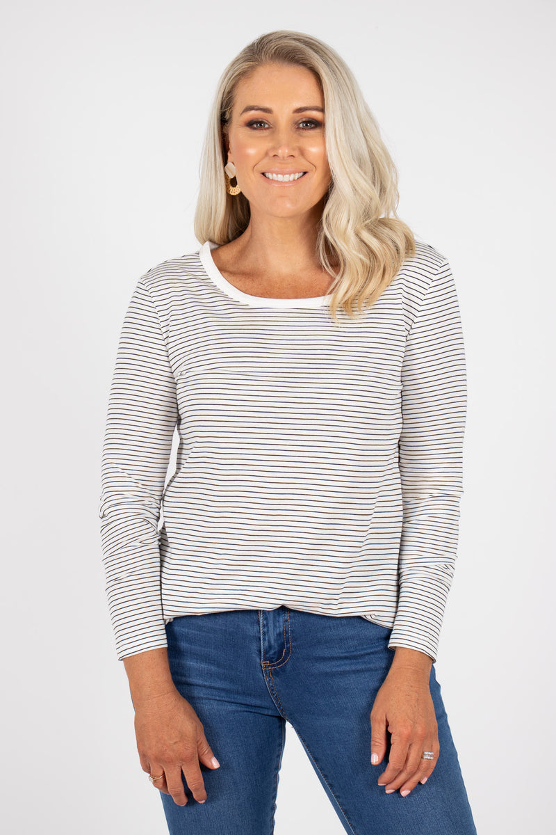 Megan Long Sleeve Top in White/Black Stripe
