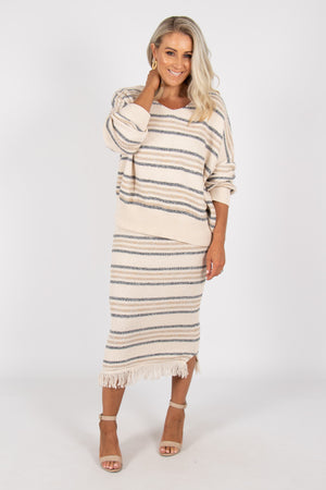 Bobbie Knit Jumper in Beige with Blue/Grey Stripes