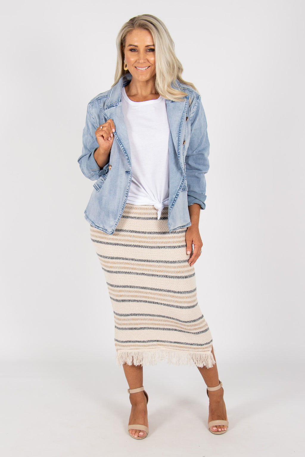 Karanda Knit Skirt in Beige with Blue/Grey stripes