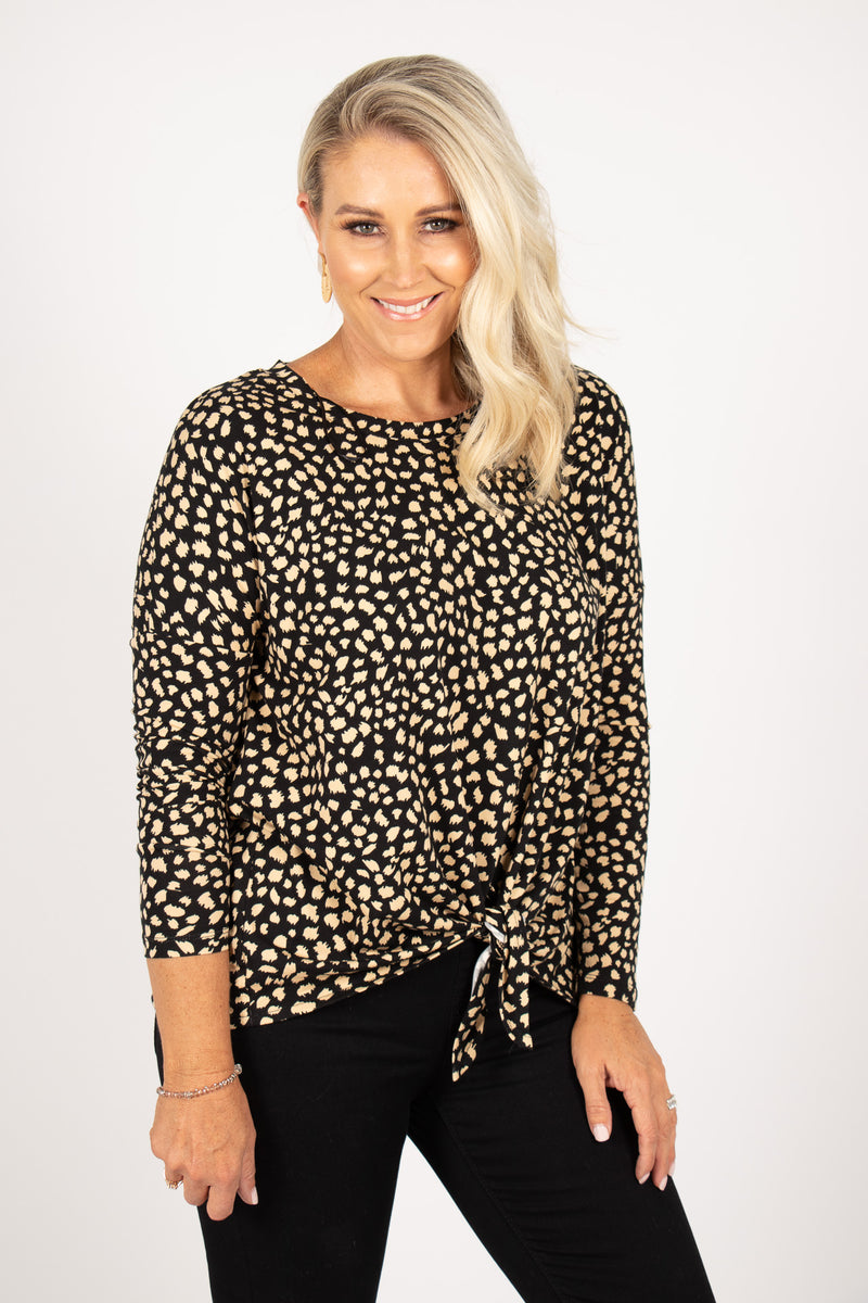 Willow Knot Top in Black/Beige Sahara