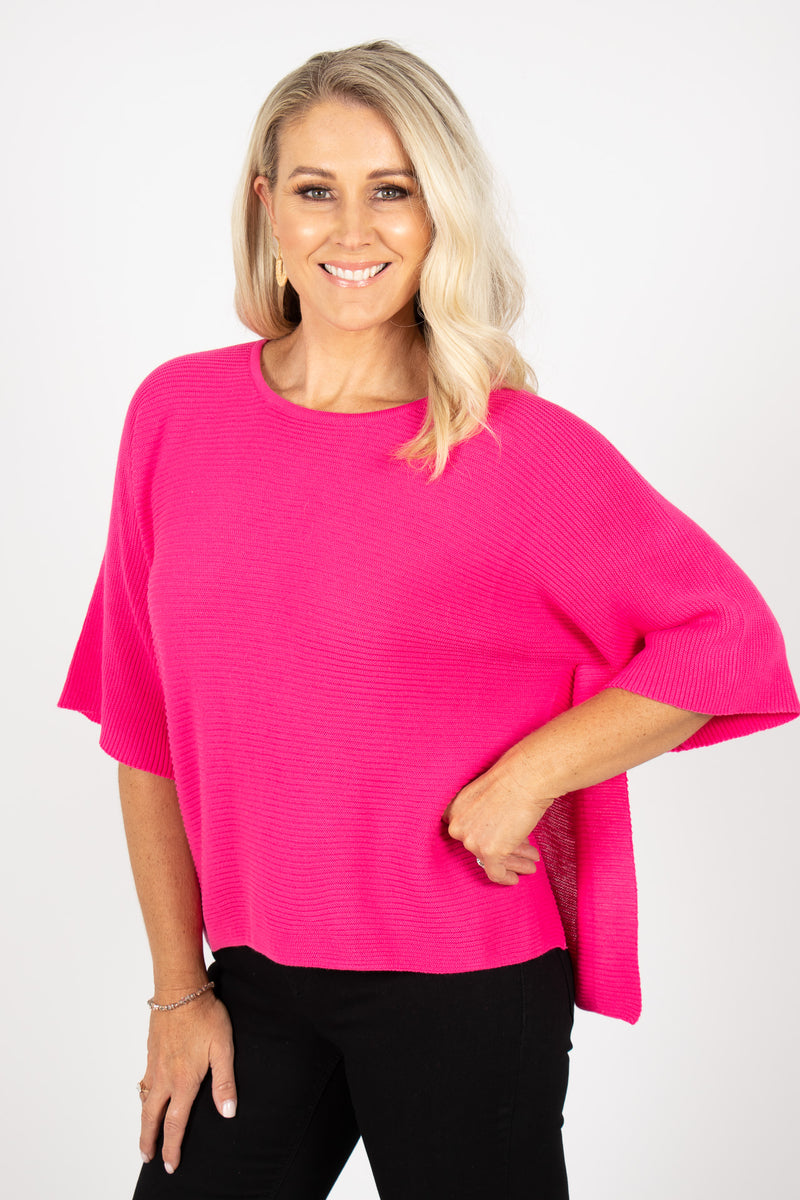 Emery Knit Top in Hot Pink