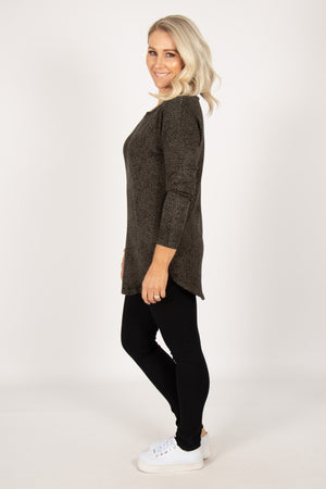 Sophie Knit Jumper in Olive/Black Terrain