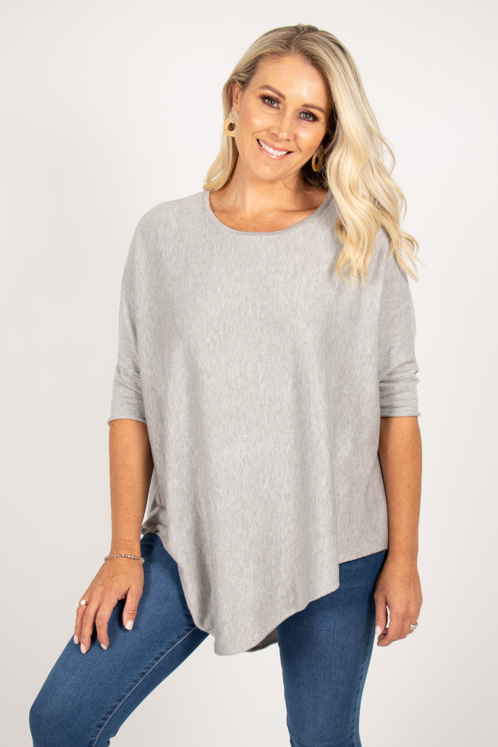 Charlie Knit Top in Grey Marle