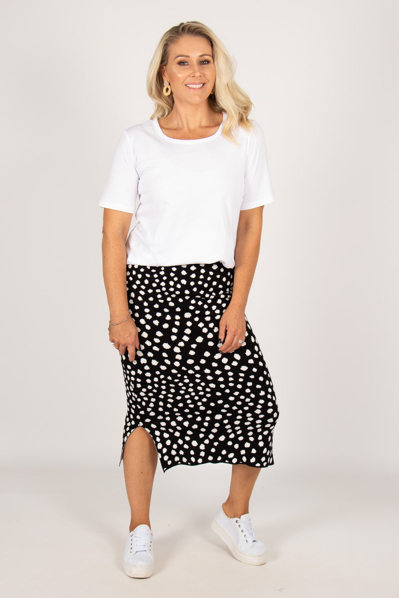 Karanda Knit Skirt in Black/White