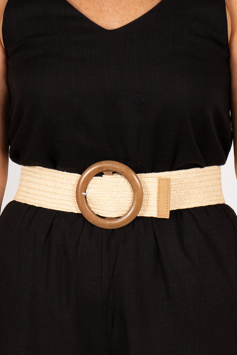 Indie Stretch Belt in Cream/Circle