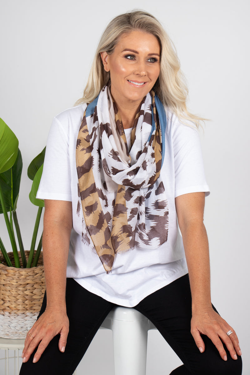 Mayne Scarf in Blue/Beige
