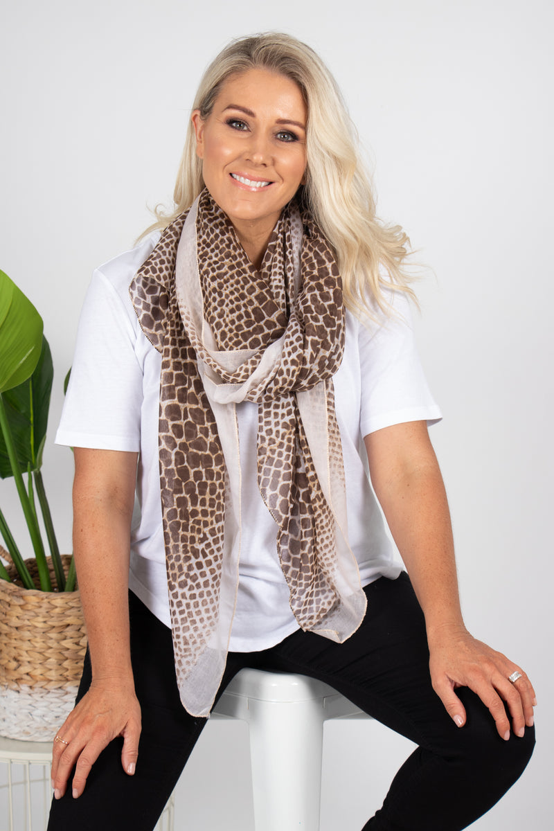 Blyth Animal Scarf in Beige