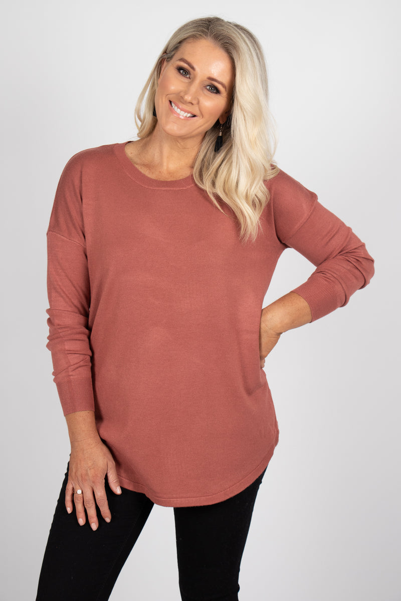 Sophie Knit Jumper in Rosewood