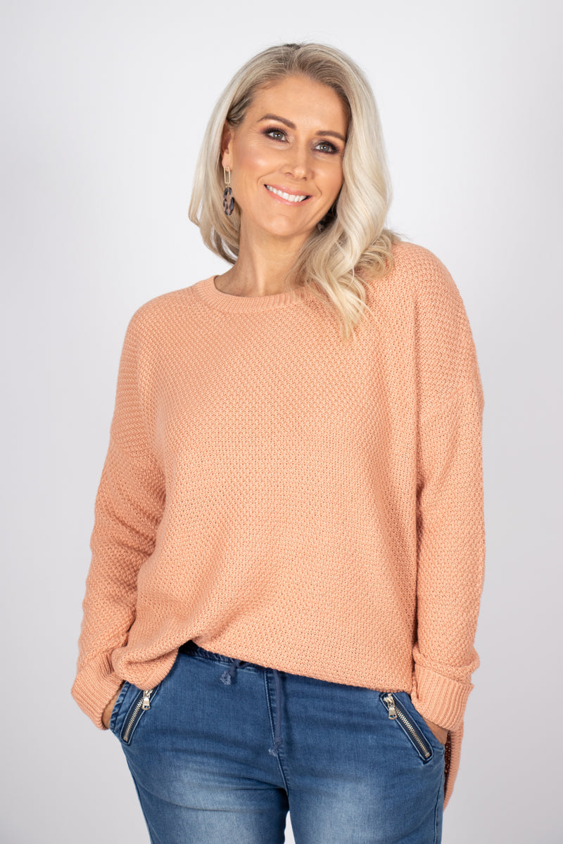 Addison Knit Jumper in Salmon