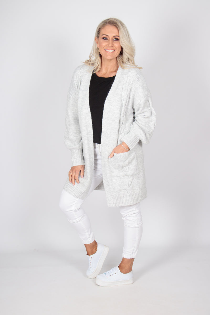 Victory Cardi in Snow Grey