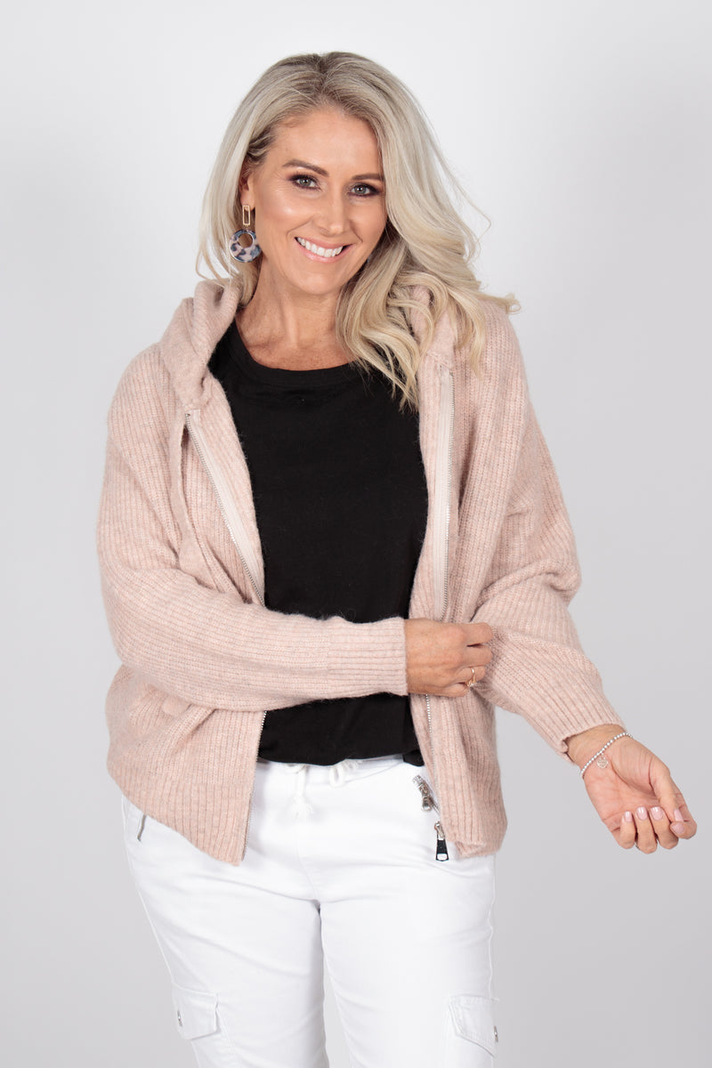 Knightly Zip Cardi in Blush