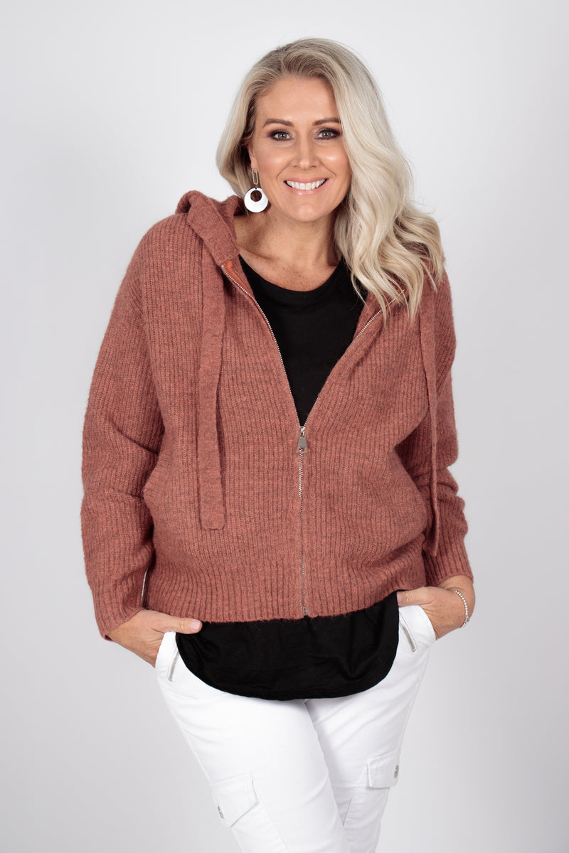 Knightly Zip Cardi in Rust