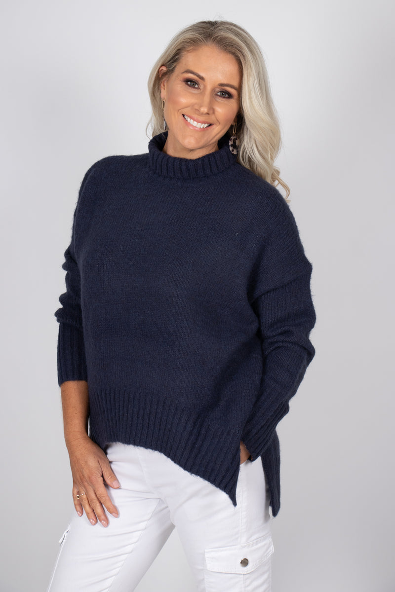 Marcello Knit Jumper in Navy