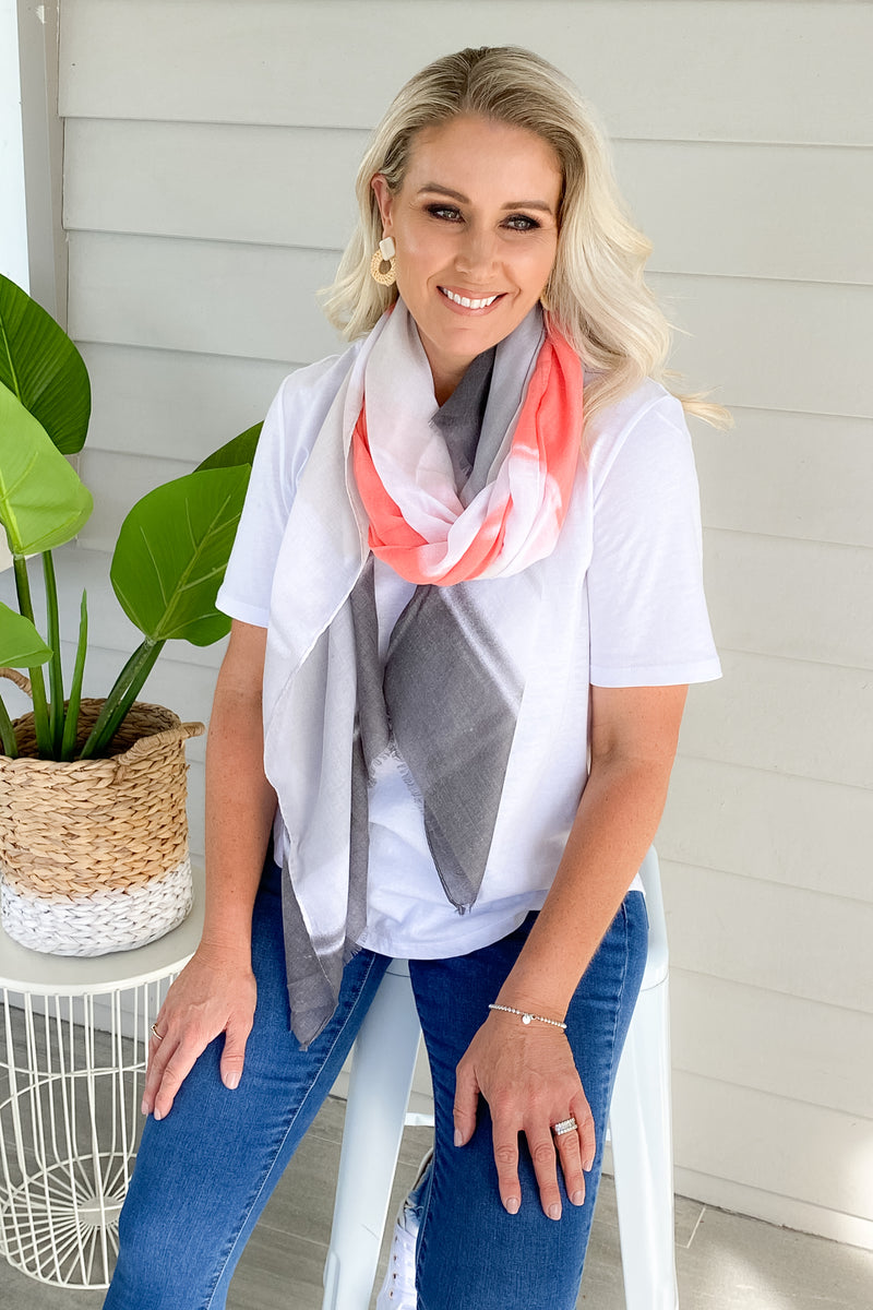 Exhale Scarf in Coral/Grey