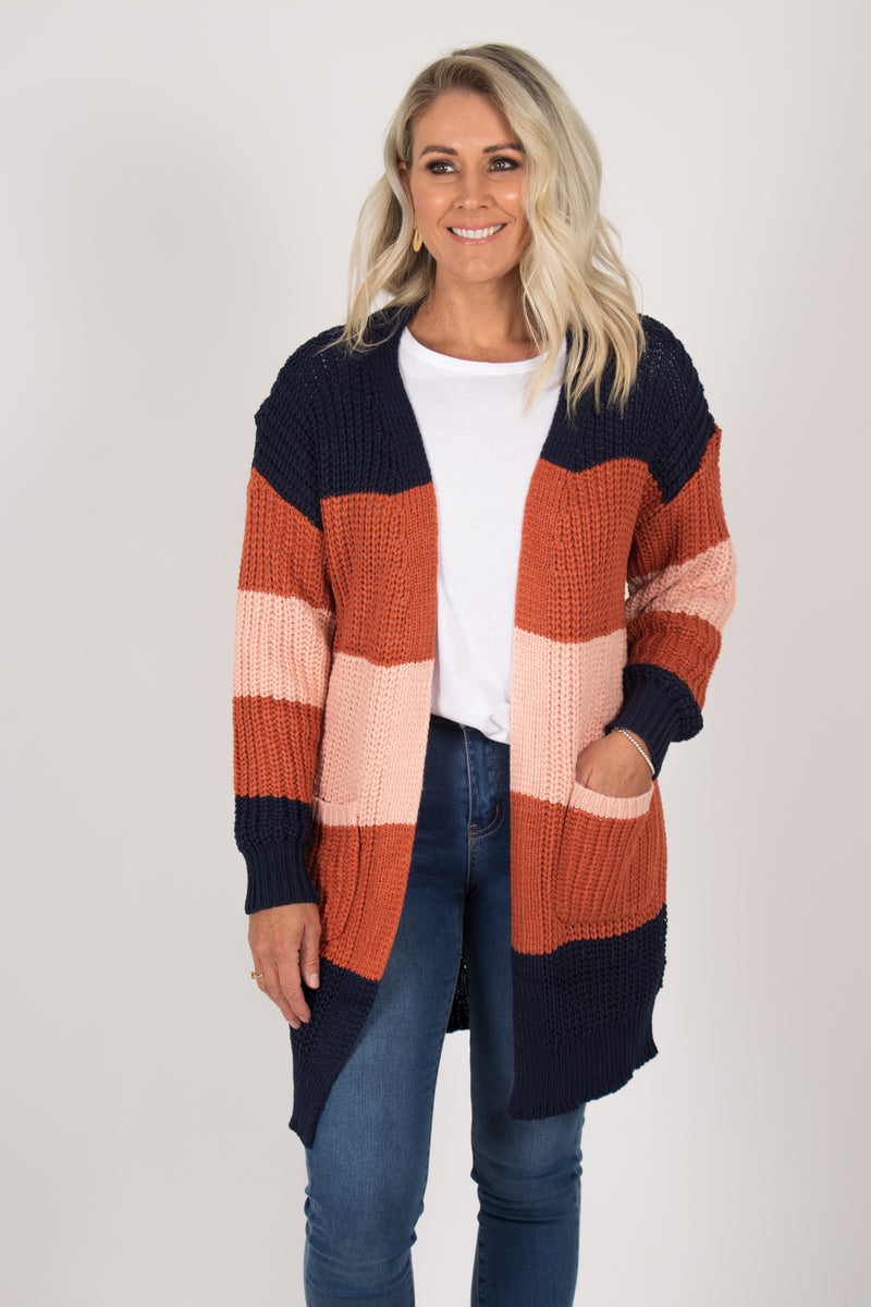 Lotus Cardi in Navy/Orange