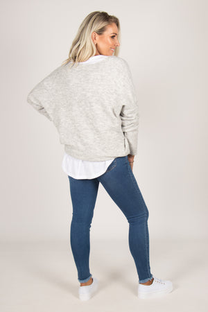 Abbott Slouch Knit in Snow Grey