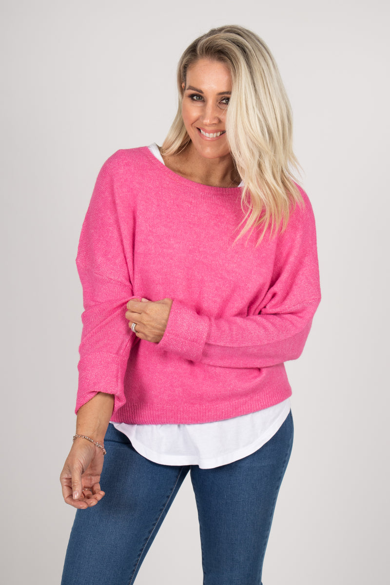 Lennox Slouch Knit in Hot Pink