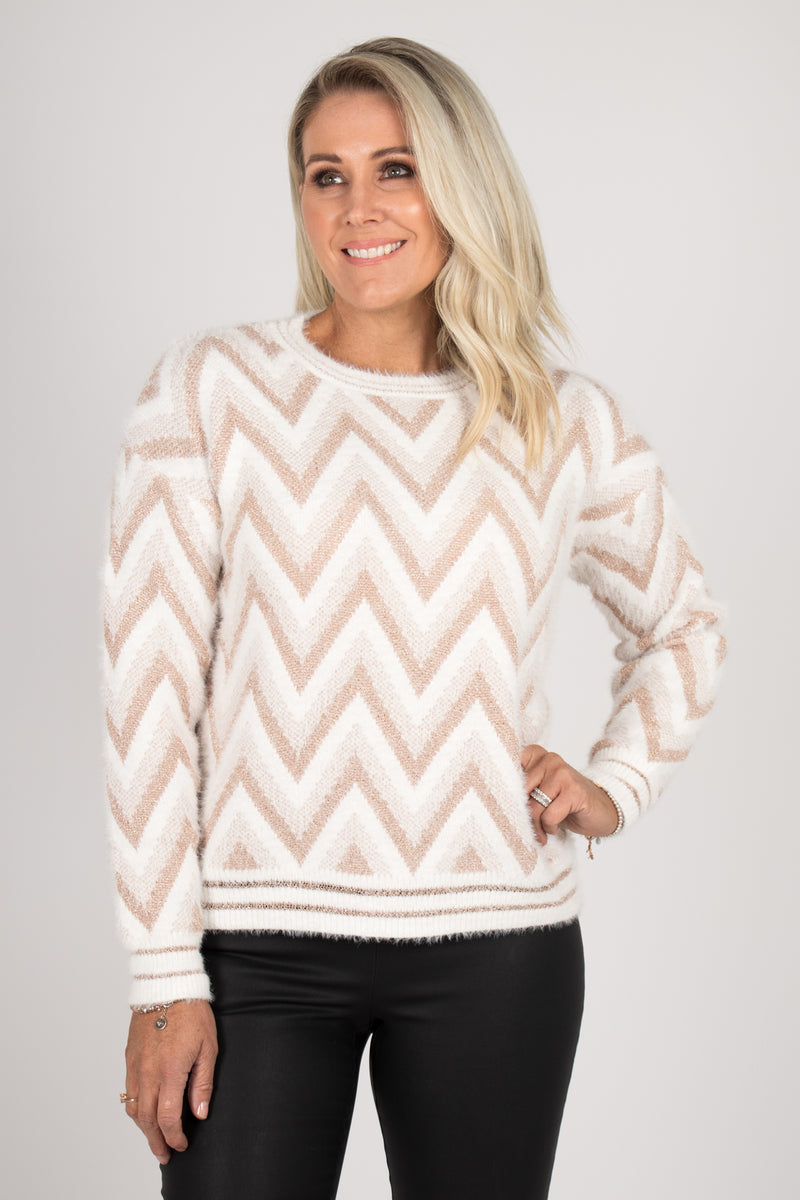 Blair Knit Jumper in White/Rose Gold