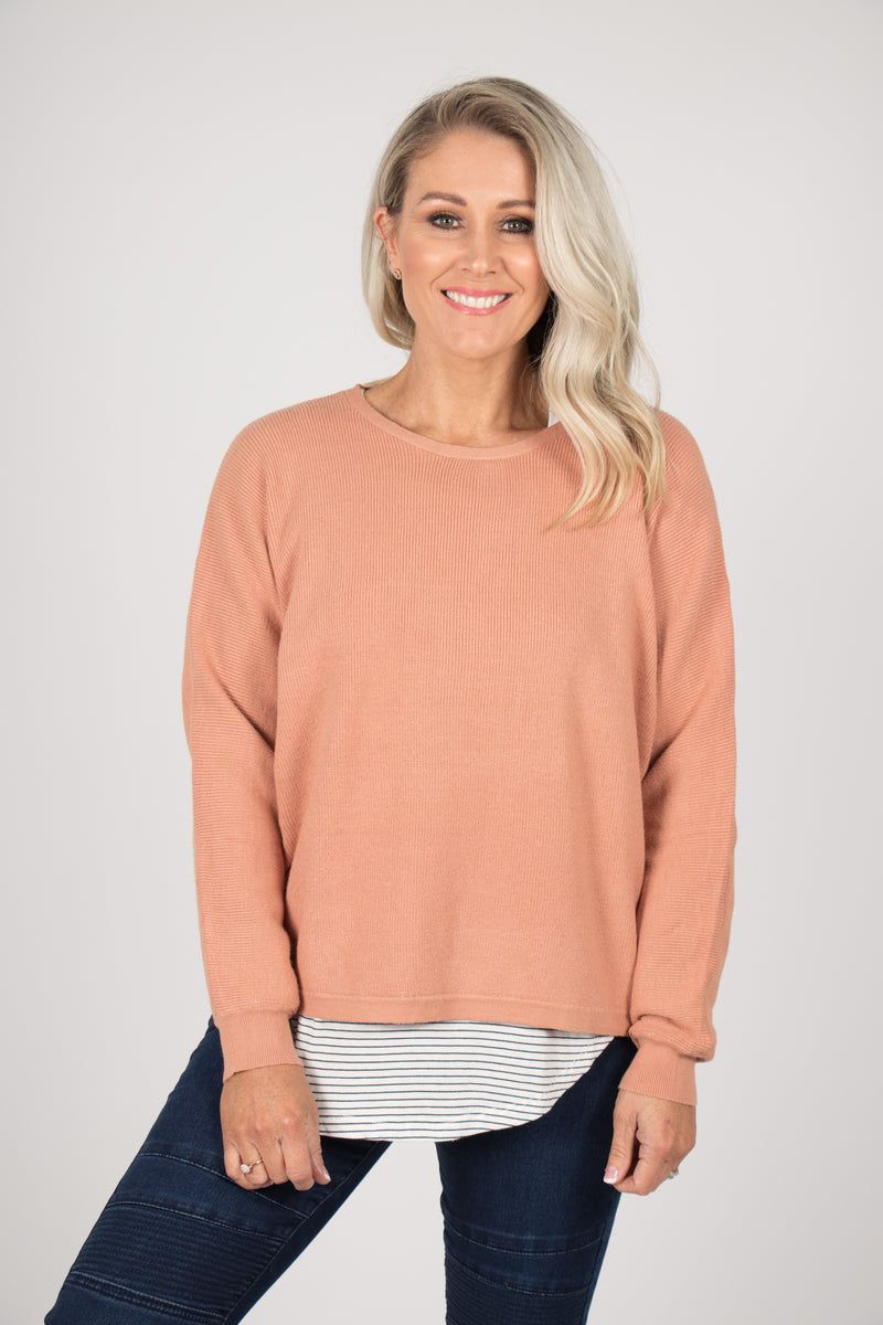 Claire Knit Top in Salmon