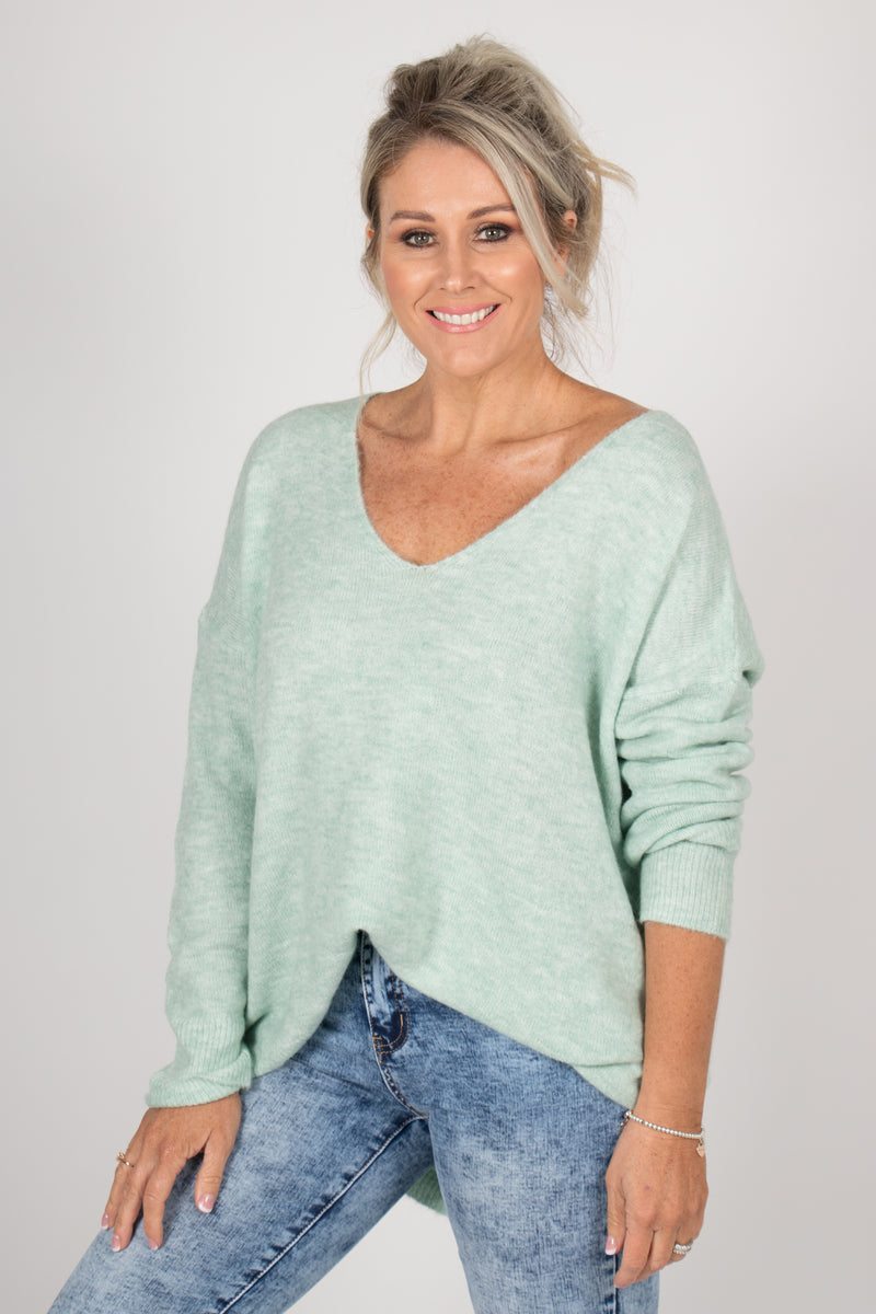 Arena Slouch Knit in Mint