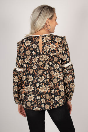 Yumi Top in Black Floral