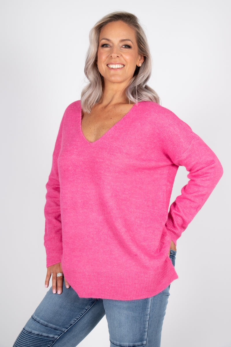 Arena Slouch Knit in Hot Pink