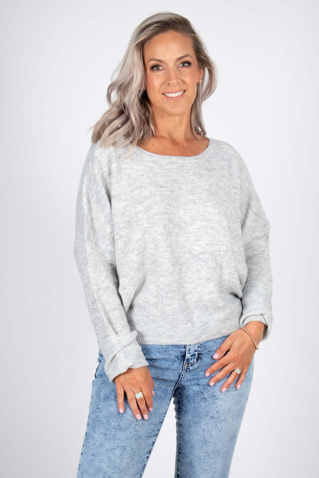 Lennox Slouch Knit in Snow Grey