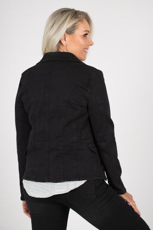 Newport Denim Jacket in Black/Black