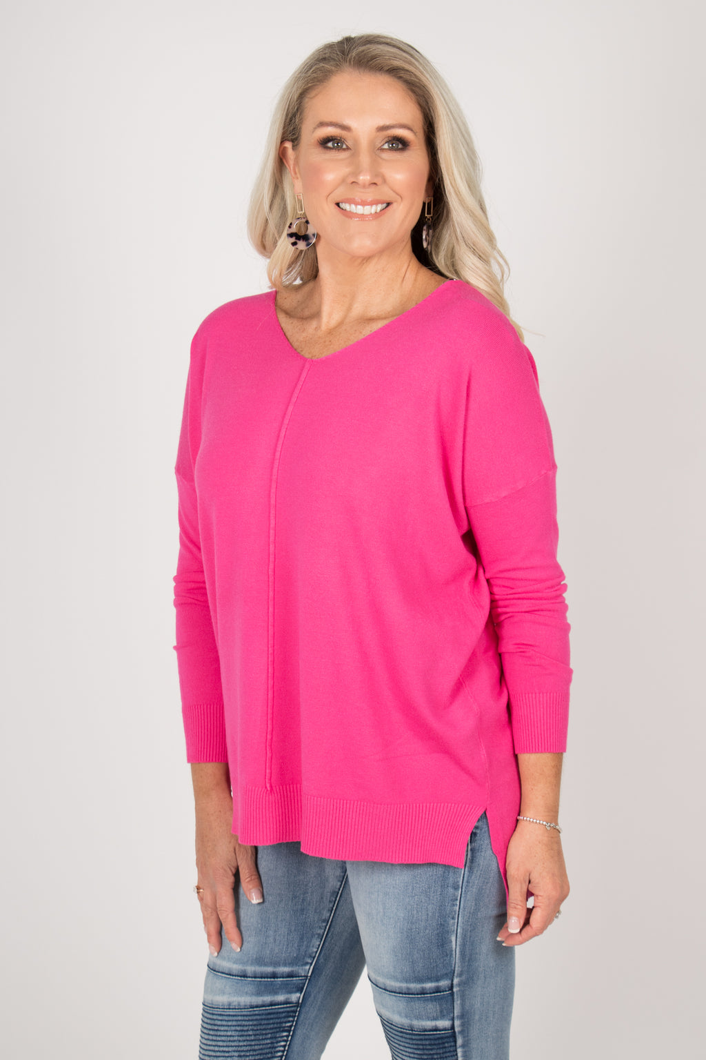 Jordene Knit Top in Hot Pink
