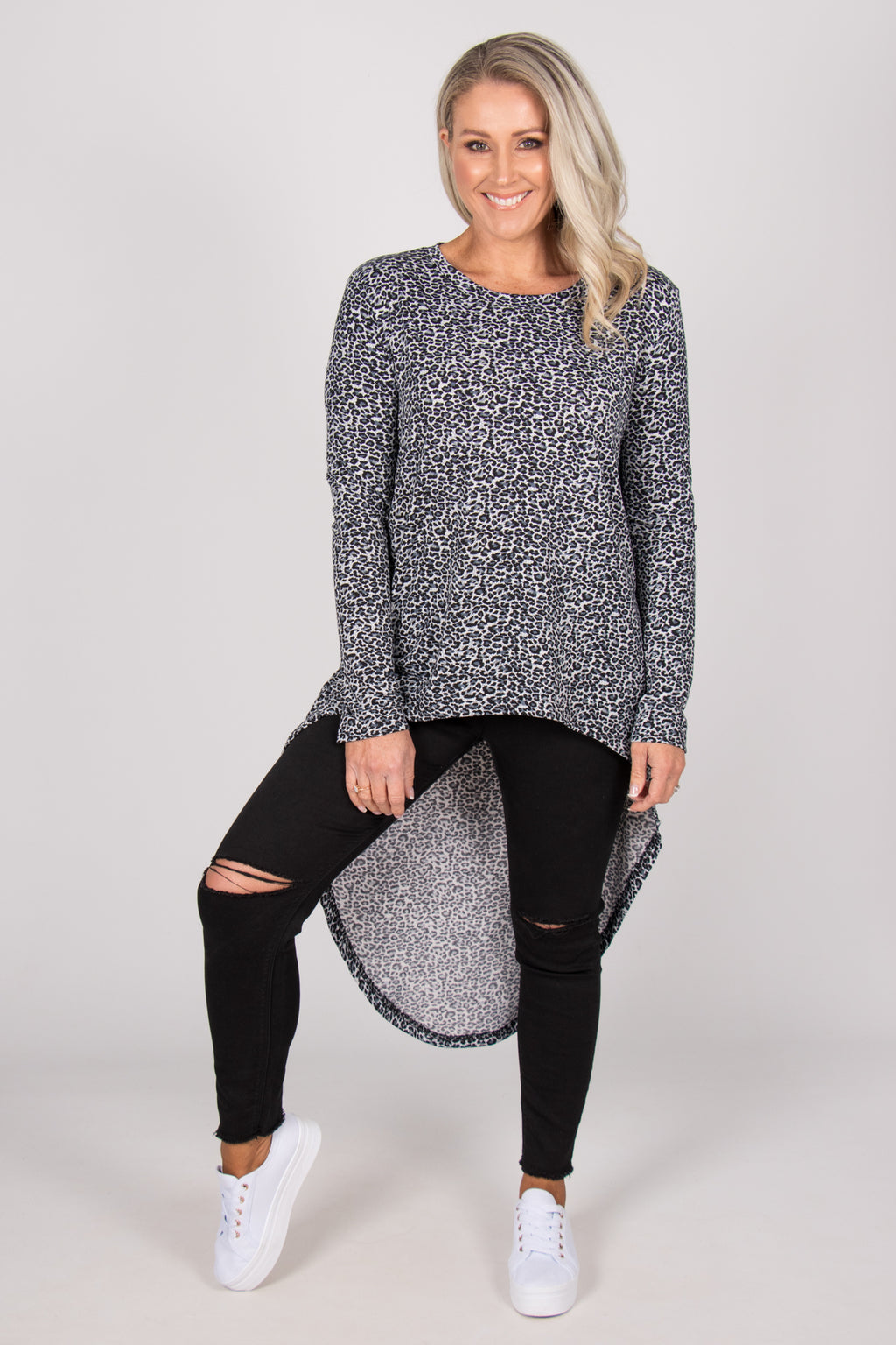 Cove Top in Gunmetal Leopard