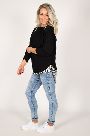 Crest Top in White Leopard