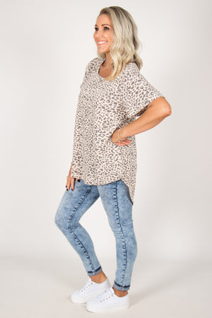 Crest Top in Peach Leopard