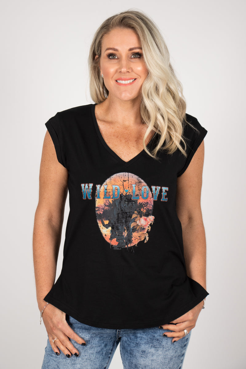 Wild Love Tee in Black