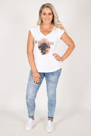 Wild Love Tee in White