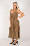 Gianni Dress in Tan/Black