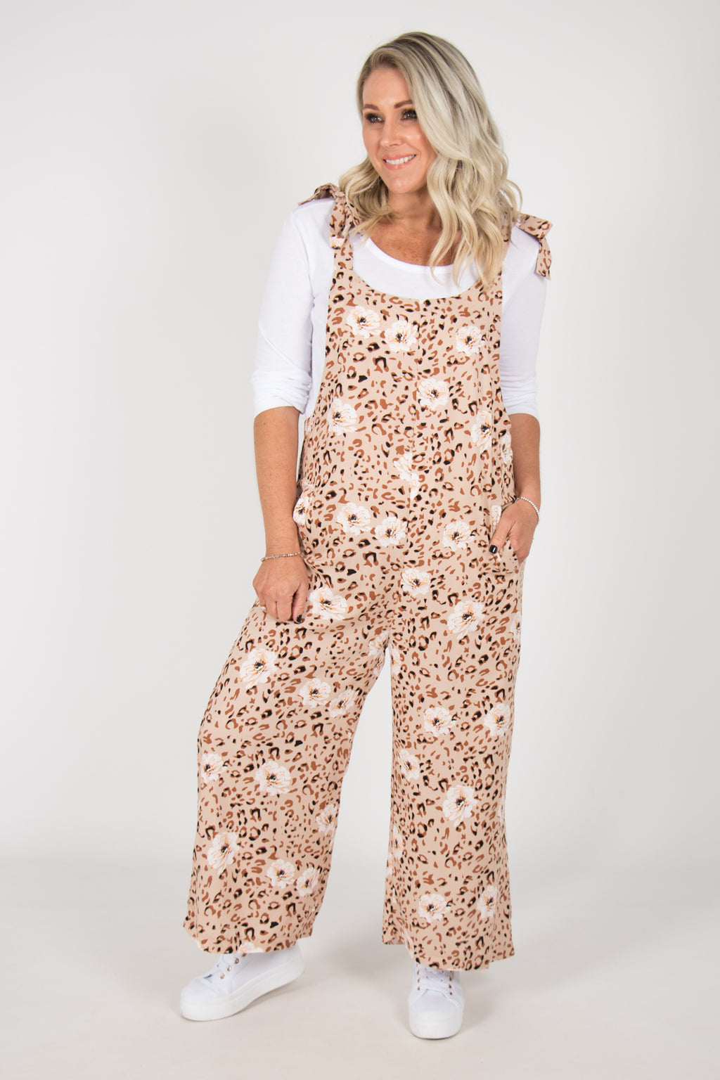 Bonnie Overalls in Beige