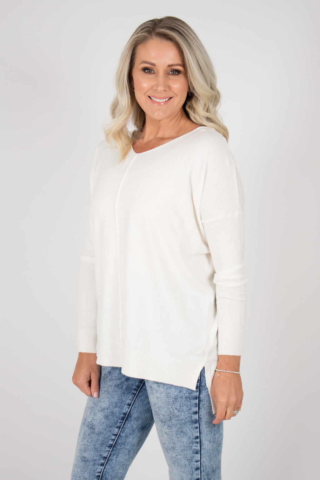 Jordene Knit Top in White